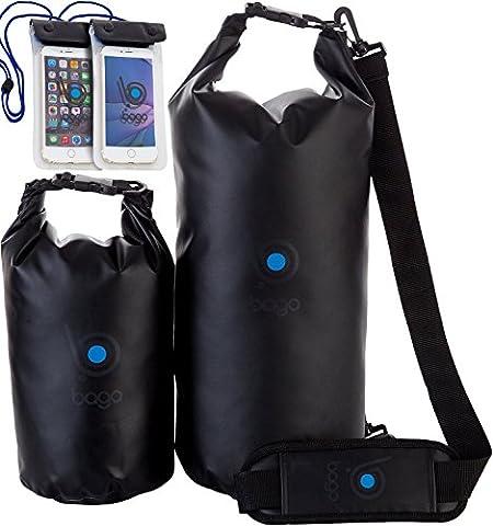 Bago Dry Bags Set - SEE-THROUGH Window Waterproof 100% SATISFACTION GUARANTEED. Plus Cell Phone Bag, (I Migliori Bagaglio A Mano Viaggio)