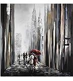 KunstLoft Acryl Gemälde 'Mit dir an meiner Seite' 80x80cm | handgemalte Leinwand Bilder XXL | Schwarz-weiß Liebes-Paar Spaziergang Skyline Küche Schlafzimmer | Wandbild Acrylbild Moderne Kunst