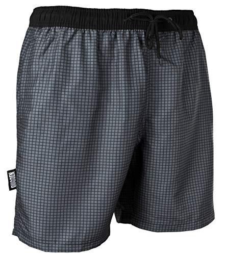 GUGGEN Mountain Badehose für Herren Schnelltrocknende Badeshorts Style-6 mit Kordelzug Beachshorts Boardshorts Schwimmhose Männer kariert Farbe Grau XXXXL