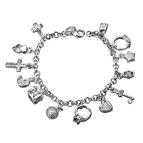 braccialetto-da-donna-con-13-ciondoli-argentato