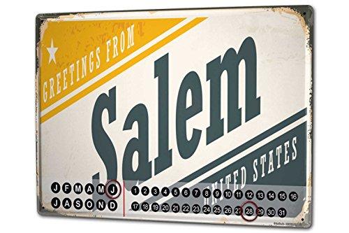 Dauer Wand Kalender Fernweh Stadt Salem USA Metall Magnet