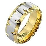 Mianova Band-Ring Edelstahl mit Tribal Cut Herrenring Damenring Partnerring Trauring Damen Herren Silber Gold Vergoldet Größe 69 (22.0) Breit 8mm