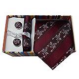 #9: Navaksha Micro Fiber Necktie,Pocket Square and Cufflinks Gift Set for Men