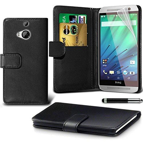 HTC One M8s Black Farbe PU Lederetui Buch-Stil Handy Hülle mit Displayschutz-Folie & Eingabestift von Gadget Giant®