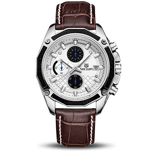 Herren Uhr Chronograph Analogue Quartz Wasserdicht Business Schwarz Zifferblatt Armbanduhr mit Leder Armband