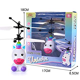 Befied Toys - Outdoor Children RC Flying Toys Infrared Sensing, RC Drone Helicopter Robot unicorn, USB Charging with Shinning LED Lights (unicorn)