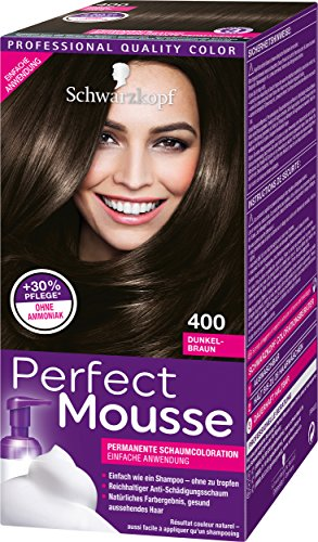 Schwarzkopf Perfect Mousse Permanente Schaumcoloration 400 Dunkelbraun Stufe 3, 3er Pack (3 x 93 ml)