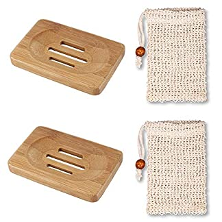 Platos Naturales de Madera de jabonera de bambú y Paquete de Bolsa de jabón de sisal con cordón, Almacenamiento jabón Bolsas de jabón jabón Plato de Soporte del contenedor de Fibra Natural