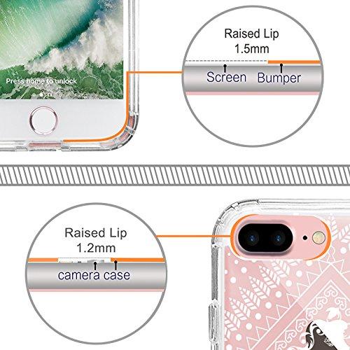 Coque iPhone 7 Plus, MOSNOVO Blanc Henné Mandala Fleur Coque iPhone 7 Plus Transparente Rigide Motif Arrière avec TPU Bumper Gel Coque de Protection Pour iPhone 7 Plus(5.5 Pouce) (Floral Lace) White Tribal Aztec