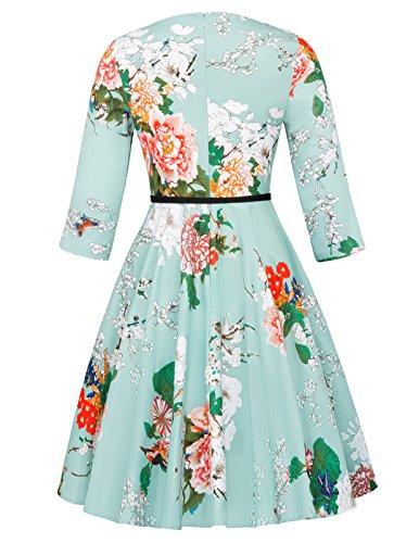 Belle Poque Damen 50s Vintage Retro Rockabilly Kleid 3/4-Arm Partykleid Blumen Festliche Kleid BP409-3