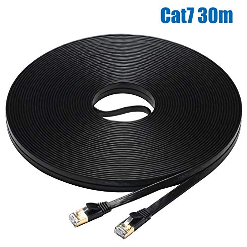 FOSTO Cat7 Ethernet-Kabel 30 m, Cat 7 Patchkabel, flach, RJ45 High Speed 10 Gigabit LAN Internet Netzwerk-Kabel für Xbox, PS4, Modem, Router, Switch, PC, TV Box 30m Schwarz - Netzwerk-kabel