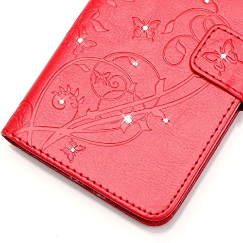 EKINHUI Case Cover LG G4 Case, Schmetterling und Blumen-Prägung Premium PU-Leder Tasche Cover Magnetische Flip Wallet Stand Case Folio Stand Hülle mit Bling Diamond Resine Rhinestone Dekor für LG G4 ( Red