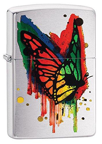 Zippo Unisex Schmetterling Winddicht Feuerzeuge, Chrom Gebürstet, One Size (Chrom-fluid)