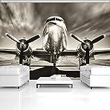 FORWALL Fototapete Tapete Flugzeug P4 (254cm. x 184cm.) Photo Wallpaper Mural AMF11728P4 Gratis Wandaufkleber Transport Flugzeug Himmel Wolken fototapete