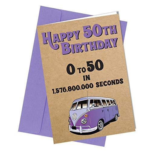 50 Geburtstag Karte Glückwunschkarte VW Camper Van Komödie Rude Lustig Humor (A4 gefaltet auf A5) Top Qualität Grußkarte nah an den Knochen #324