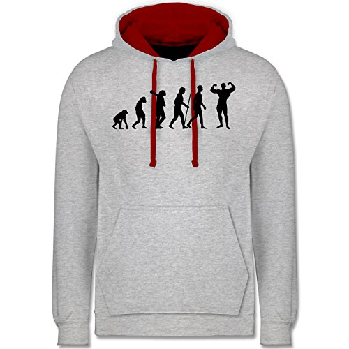 Evolution - Bodybuilder Evolution - Kontrast Hoodie Grau Meliert/Rot