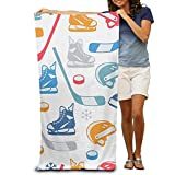 "MeiMei2 Bath Towel Ice Hockey Elements Creative Patterned Soft Beach Towel 31""x 51"""