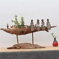 cinese in legno intagliato blocco Root vasi da fiori casa soggiorno Villas decorazioni ornamenti ,17)