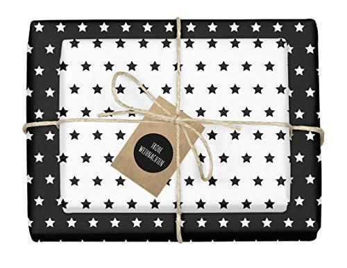 """4x zweifarbiges Geschenkpapier""""Weihnachten: Sterne schwarz-weiß"""" + 4x Anhänger (doppelseitige Bögen DIN A2, Öko-Recycling-Papier)"""