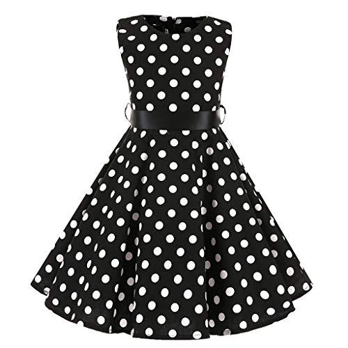 Quaan Kinder Teen Kinder Mädchen Vintage 1950er Jahre Retro ärmellose Dot Print lässige Kleidung (Teens Halloween-kostüm Ideen)