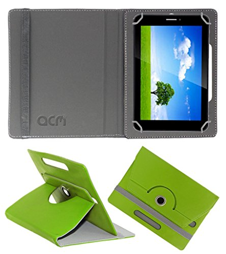Acm Rotating 360° Leather Flip Case for Iball Slide 6351 Q40 Cover Stand Green  available at amazon for Rs.149