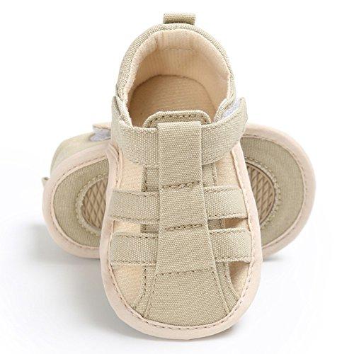 MiyaSudy Kinder Baby Jungen Schuhe Sommer Outdoor Klettverschluss Canvas Sandalen Erste Wanderer 0-18 Monate Braun