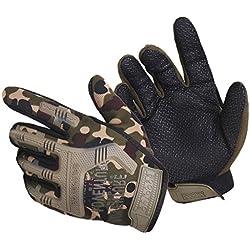 QIYUN.Z Hombres Al Aire Libre Militar Duro Nudillo Medio Dedo Camo Guante Tactical Armadura Guantes (Talla única, Camuflaje(Dedo completo)