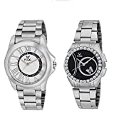Fogg Analog White:Black Dial Couple Watch Combo 5015-WH-BK