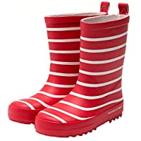 5ALL Unisex Kids Rain Boots Stripe Waterproof Fashion Trend Overshoes Comfortable Breathable Set of Boots Round Head Velvet Leather Shoes Mid Tube Rubber Windproof Shoe Red