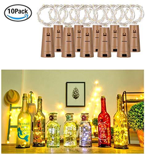 cht Weinflasche Lichter korken Form 10 Pack Kupferdraht für Party Weihnachten Halloween Hochzeit ()