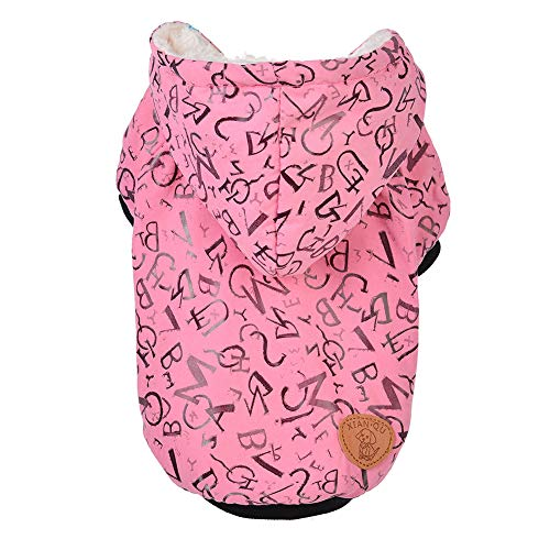 CplaplI Schöner V-Ausschnitt für Haustiere, Mode Buchstabe Bedruckt Sommer Hund Katze Mantel Knopf Jacke Kapuze Warm V-Ausschnitt für ()