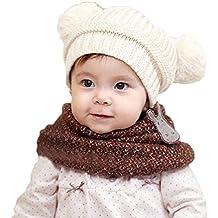 Tongshi Bebé lindo de la muchacha del muchacho para niños de doble bolas caliente del invierno hizo punto el casquillo del sombrero de la gorrita tejida(blanco)
