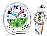 Atlanta Kinderwecker ohne Ticken Fußball mit Armbanduhr Weiß - 1719-0F KAU