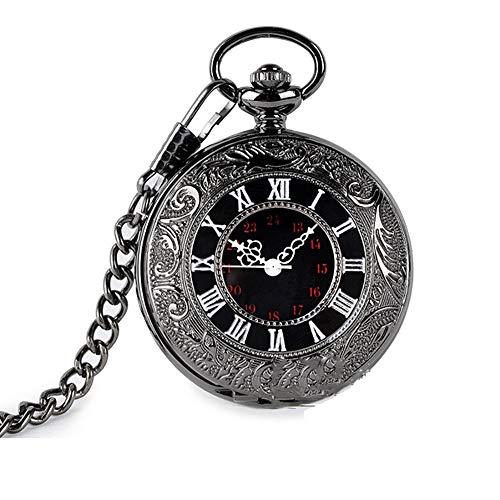 Q store Pocket watch Schwarz Minimalistischer Trend Römische Retro Flip Taschenuhr Quarzwerk mit Kette Taschenuhr