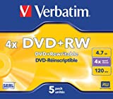 Verbatim 43229 DVD+RW 4x Disc in Non Print Jewel Case (Pack of 5)