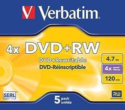 Verbatim Dvd+rw 4x Speed 4,7gb Jewel Case 5er Pack Dvd-rohlinge