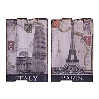 Decorative 2 piece picture set - Tower of Pisa & Eiffel Tower design - wood - 2'x16