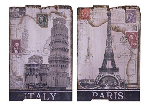 Set di 2decorazione da parete Targa in legno Targa da parete in legno vintage motivo: Italia e Parigi Cartolina 40,1x 60,2cm