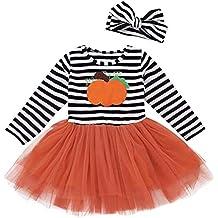 Fossen Disfraz Halloween Niña 2-5 años Tutu Vestidos de Calabaza a Rayas +  Cintas 6f28ab9a1ec0