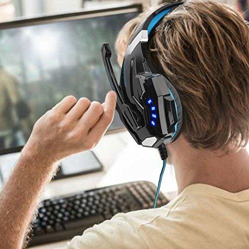 VTAKOL V9 Gaming für PS4, 3.5mm Surround Sound Kabelgebundenes Gaming Kopfhörer mit Mikrofon, LED-Licht, Kopfhörer für Laptop, Xbox one, PC, Smartphone