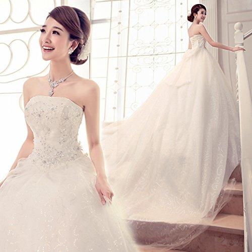 HUN Hochzeitskleid Dünne Dünne Schwangere Frauen Gro?e Gr??e Braut Kleid Abendkleid Bankett Schwanz Brautkleid,EIN,XS