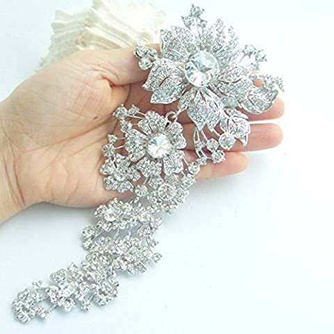 Hsworld® 7,3pollici grande da sposa o damigella d' onore fiore spilla pin strass gioielli Bouquet