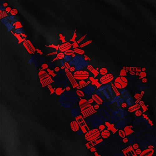 Neu York Statue Freiheit Damen S-2XL T-shirt | Wellcoda Black