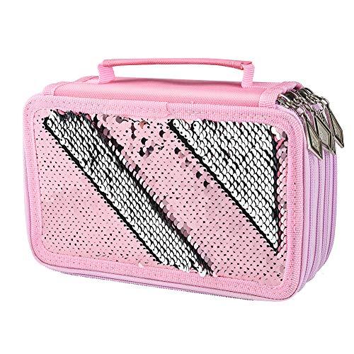 Asiv borsa grande a forma di matita, astuccio per bambina con paillettes, borsa da trasporto di grande capacità, adatta per viaggi, lavoro, pittura,rosa (4 livelli 72 slot)