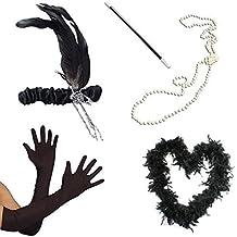 1920er Jahre Flapper Schwarze Federboa Stirnband Perlenkette Zigarettenspitze Handschuhe Kostüm