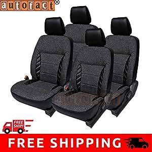 Autofact AF18 Jute/PU Leather Car Seat Covers Hyundai Santro Xing (Black)