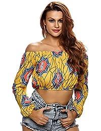 EOZY Femmes Fille Imprimé Crop T-Shirt Tops Blouse Manche Longue
