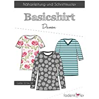 Schnittmuster Fadenkäfer Basic Shirt Damen Gr.32 bis 58 Papierschnittmuster
