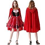Hunptail Rotkäppchen Kostüm mit Kleid Unterrock und Umhang mit Kapuze (XL)