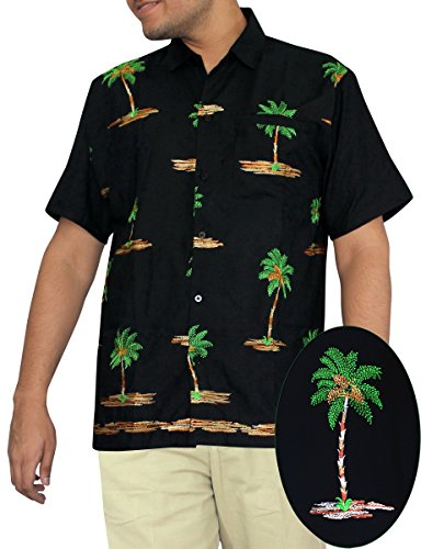 LA-LEELA-Shirt-camisa-hawaiana-Hombre-XS-5XL-Manga-corta-Delante-de-bolsillo-Impresin-hawaiana-casual-Regular-Fit-Camisa-de-Hawaii-Negro-P054-S